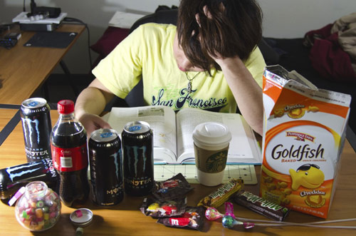 College student pulling an all-nighter