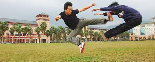 Asian Kung Fu fighter kick