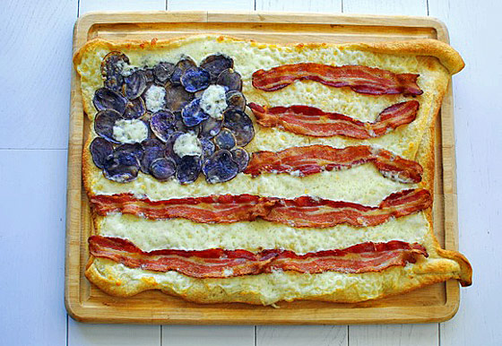 USA flag made out of bacon