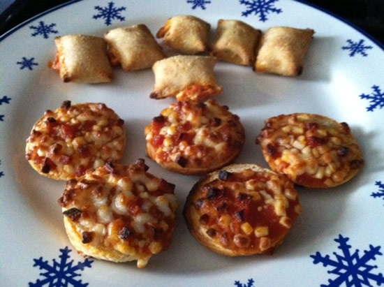 Bagel Bites and pizza rolls on a platter