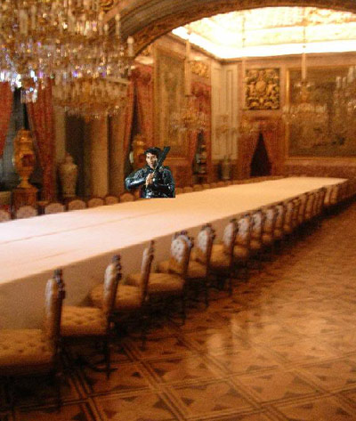 Big table with one person