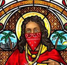 Black Jesus in stained glass in church