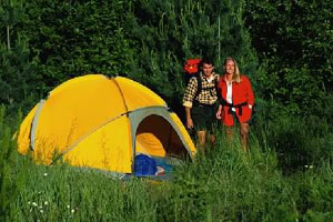 Camping tent outside