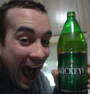 KC drinks Mickey malt liquor