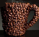 Coffee mug made out of coffee beans