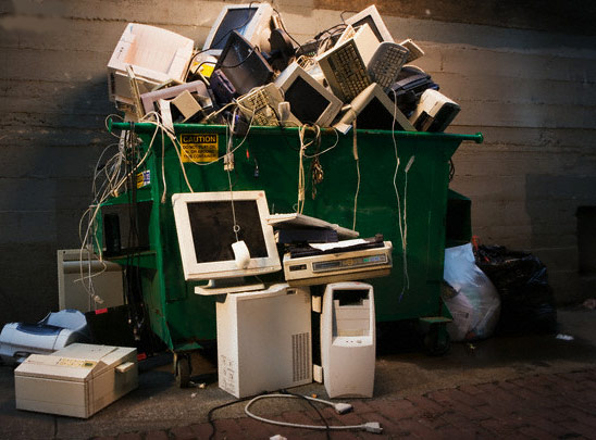 Computers thrown away in a dumpster