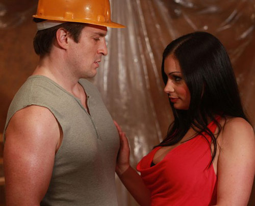 Construction worker role playing sex with wife
