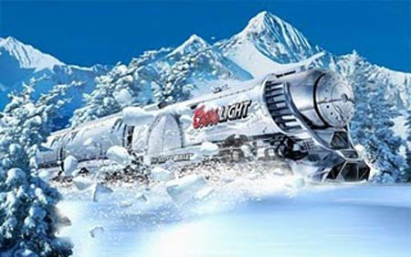 Coors Light Silver Bullet train in the snow
