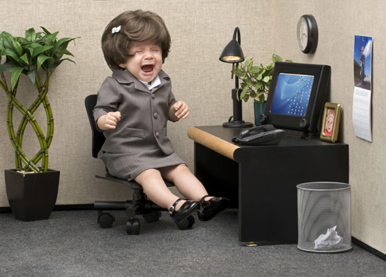 Crying doll in a cubicle on Monday
