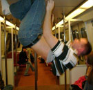 Drunk dancing on the pole in the DC metro