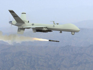 Drone strike plane launching missile