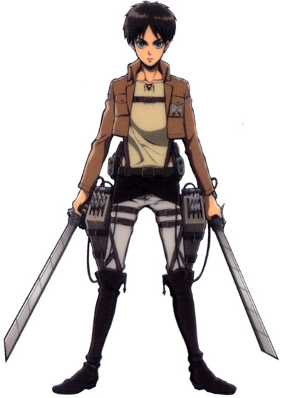 Eren Jaeger anime with a sword