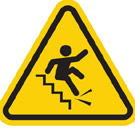 Falling down the stairs caution sign