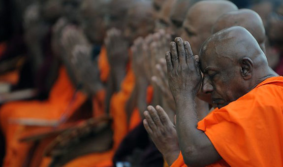 Fat monks in Thailand