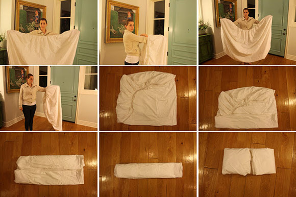 Visual instructions for folding a fitted sheet