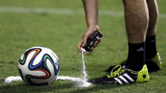 Shaving cream to mark off a free kick in World Cup 2014