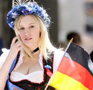 Hot German woman holding a flag