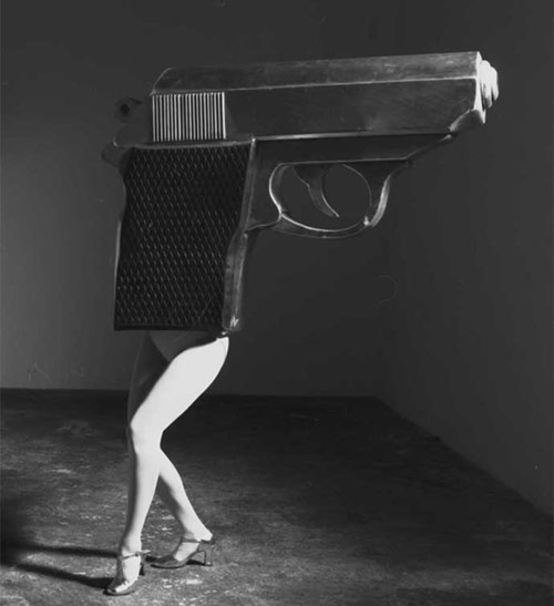 Gun dancer in high heels