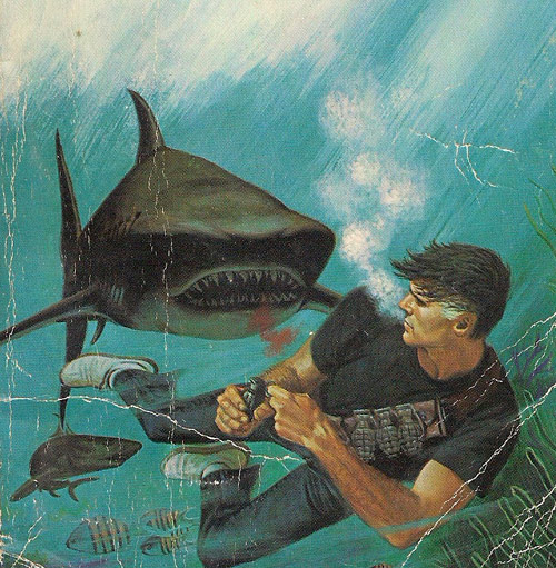 Man fighting a shark with hand grenades
