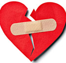 Heart with a Band-Aid holding it together
