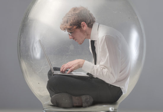 Introvert sitting in a bubble on the internet clicking lists