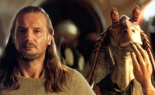 Jar Jar Binks and Liam Neeson in Star Wars
