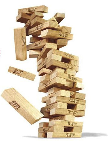 Jenga blocks falling over