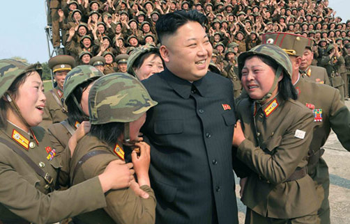 Kim Jong Un - North Korean dictator surrounded by women