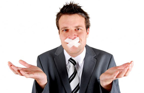 Mansplaining guy with tape over his mouth