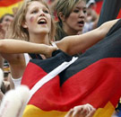Hot German girl holding a flag