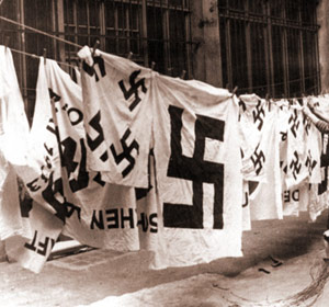 Nazi laundry hanging on clothesline