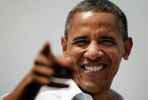 Barack Obama smile and point face