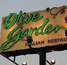 Olive Garden billboard at night
