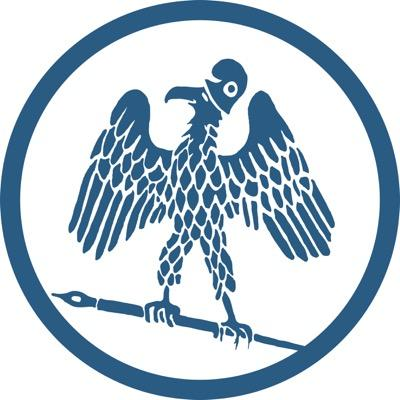 The Paris Review graphic logo - bird with a jester hat on holding a pen