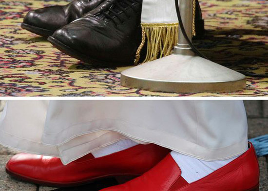 Pope Francis ditches red shoes for black shoes