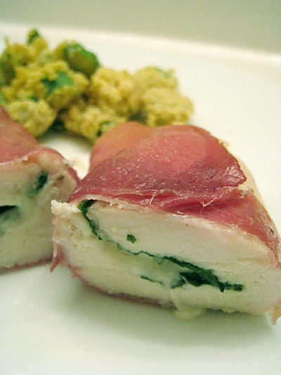 Prosciutto stuffed chicken