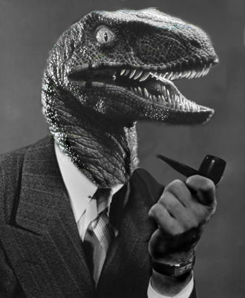 Raptor dinosaur in a suit jacket smoking a pipe