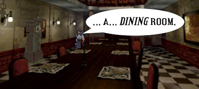 Dining room in Resident Evil video game