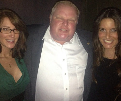 Rob Ford hugging two hot women