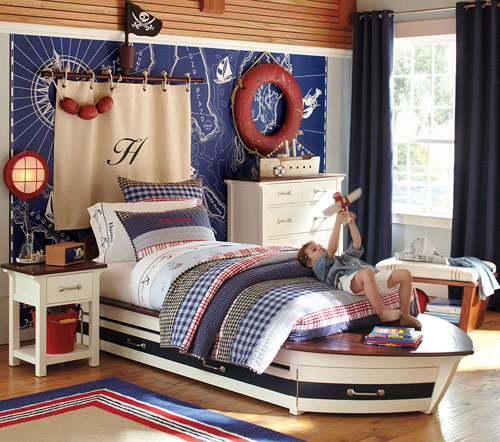Sailboat-themed kids room