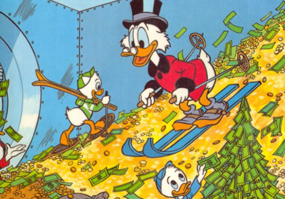 Scrooge McDuck swimming in coins