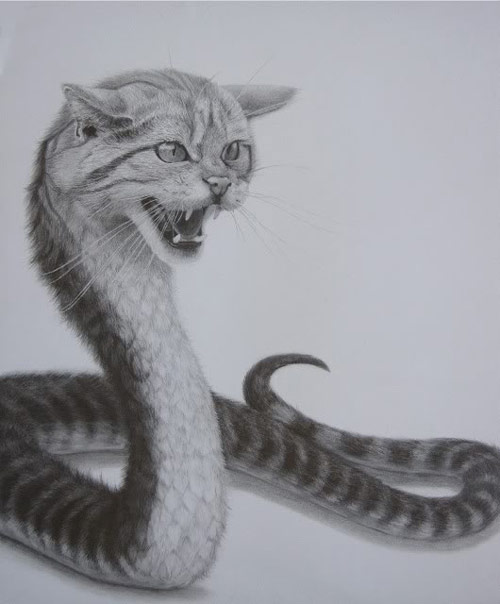 Snake with cat head