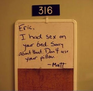 Roommate used pillow apology