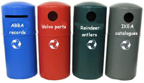 Swedish recycling bins