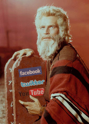 God holding the Ten Commandments of Social Media in stone