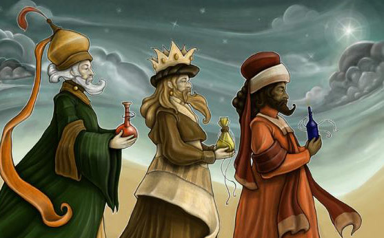 Three Wise Men holding bottles
