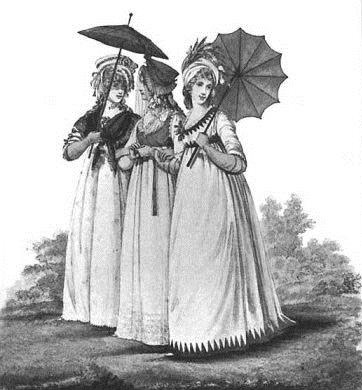 19th century ladies holding umbrellas