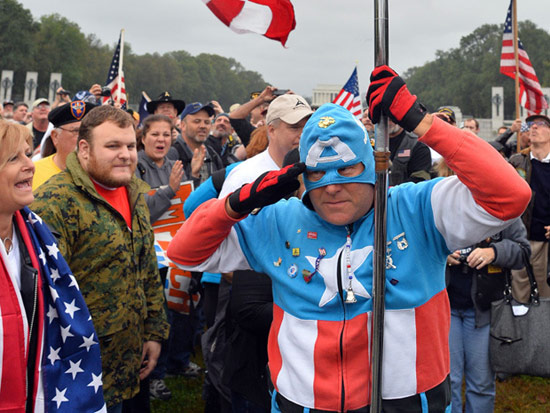 Captain America at a US political protest