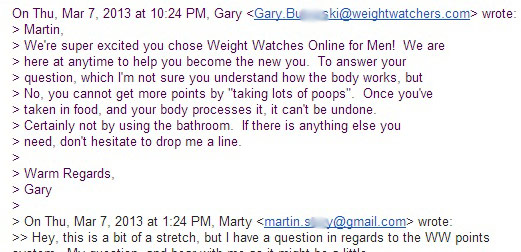 Weight Watchers diet email