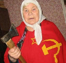 Russian woman holding axe
